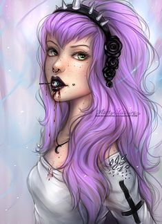 A very fun pastel goth girl I did. She's got an eyeball sucker. ;D I sold this…
