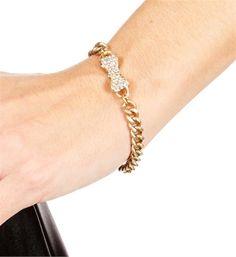 Matte Gold Rhinestone Bow Bracelet