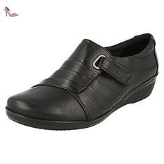 CLARKS Clarks Womens Shoe Everlay Luna Black Leather 8.0 E - Chaussures  clarks (*Partner