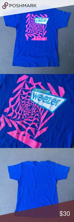 Royal blue weezer concert tour tee Royal blue weezer band concert tour tee Excellent condition  No stains no damages no holes  Fits perfect to size  Willing to negotiate offer  Come check out the rest of my closet   Rock rap tee vintage vtg retro 90s Shirts Tees - Short Sleeve