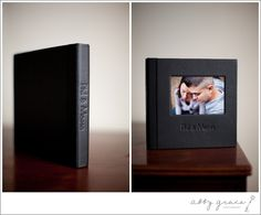 3500 Series Flush Mounted album with Black Leather. Cover Inset Photo is mounted in the Optical Center Position and the Imprinting is centered below the cover inset photo. (Source: http://www.abbygracephotography.com/2012/03/06/more-leather-craftsmen-albums/)