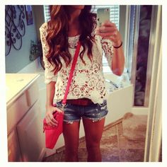 Cute white lace top + shorts + cross-body pink purse# summer street style#cute look  GG's tiny times