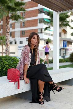red shoulder bag black long maxi dress heels shawl violet bracelet summer stunning  apparel fashion outfit clothing women style