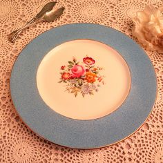 Vintage Cake Plate  Large Cake Plate  Blue Cake Plate with