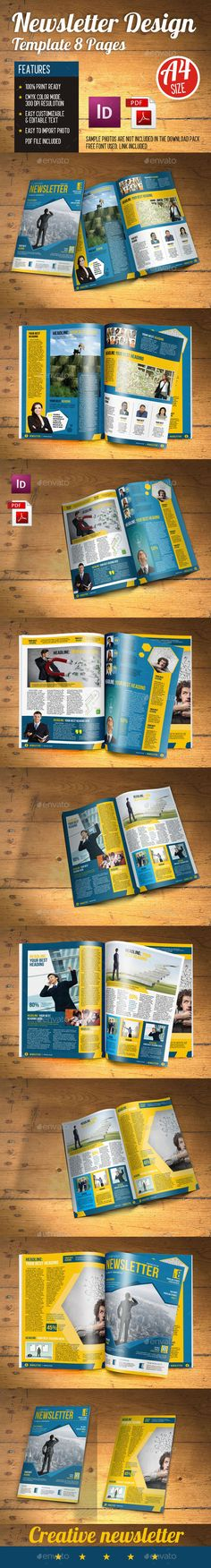 Newsletter Creative 8 Pages Template #design Download: http://graphicriver.net/item/newsletter-creative-8-pages/12799728?ref=ksioks