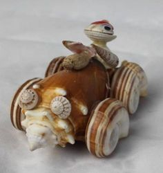 Mr-TOAD-of-TOAD-HALL-DRIVING-CAR-Made-of-SHELLS-Frog-Red-Hat-Whimsical