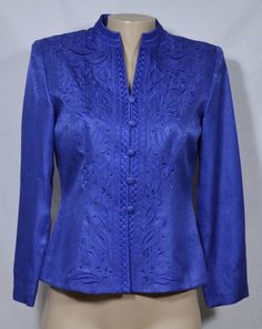 PAPELL PETITES Rich Blue Silk Top 8P Embroidered Beaded Long Sleeves Evening #AdriannaPapell #Blouse #EveningOccasion