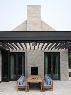 Pergola with outdoor seating. Outdoor Garden Furniture, Outdoor Rooms, Outdoor Tables, Outdoor Living, Outdoor Decor, Outdoor Fire, Outdoor Seating, Architecture Details, Exterior Design