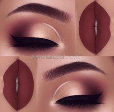 "Brows: Anastasia Beverlyhills brow wiz in ""dark brown"" and brow definer in ""medium brown"", clear brow gel Eyeshadow: Anastasia Beverlyhills modern renaissance palette ""Burnt Orange"", ""Red Ochre"" ""Cyprus Umber"", ""Prima Vera"" Liner: white l Cute Makeup, Gorgeous Makeup, Sleek Makeup, Makeup Goals, Beauty Makeup, Makeup Lips, Eyebrow Makeup, Red Lip Eye Makeup, Indian Eye Makeup"