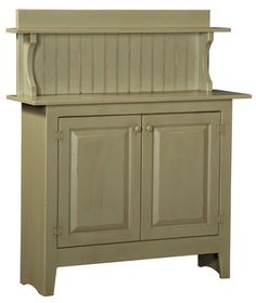 "Shaker Sideboard is handmade by the Amish.  Your piece will be built with Premium Grade Eastern White Pine wood.  You will see some deformities and knots that come naturally with eastern pine.   Measures 45"" W x 50.50"" H x 14"" D Shown in Sage and features 1 adjustable shelf"