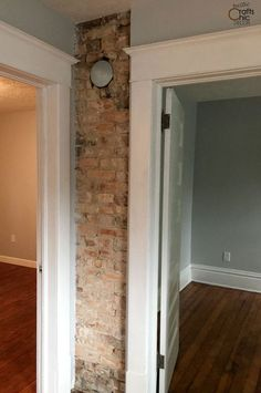 rustic chic decor DIY- expose a brick chimney Rustic Chic Decor, Rustic Room, Rustic Shabby Chic, Cabin Crafts, Rustic Crafts, Painted Stair Risers, Thin Brick Veneer, Rustic Staircase, Cabin Kitchens