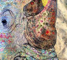Rhino detail. Textile embroidered art