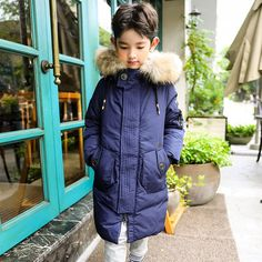 Kids Boys Winter Padded Coat Jacket Real Fur Collar Outerwear Hooded Parka Coats