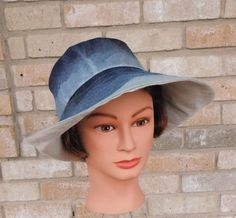#Handmade Ombre Sun Hat- Stone / Acid Washed Blue Denim Linen with an extra Wide Brim (4.5-5) for maximum sun protection.  #Dark blue denim fabric was manipulated by hand to give it an ombre look going from dark to light blue creating that same great look of your favorite pair of jeans!  #Machine Washable Denim and Linen. Pack-able for travel!  Choose your head size from the Circumference box above or message me with your custom size request. (Tip: if you dont have a tape measure, use a ...