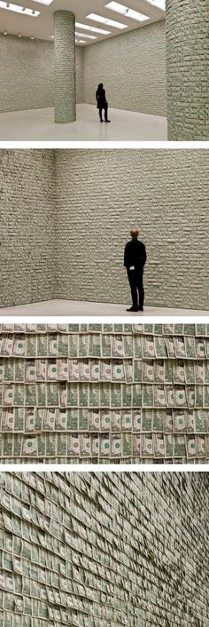 Hans-Peter Feldmann Hangs $ 100,000 in Dollar Bills on the Walls of the Guggenheim Museum..