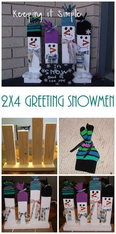 2x4 Greeting Snowmen - This Christmas porch decor idea is so easy, but it'll make your neighbors laugh every time they see it!