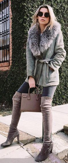 Grey Coat / Black Skinny Jeans / Brown OTK Boots / Brown Leather Tote Bag