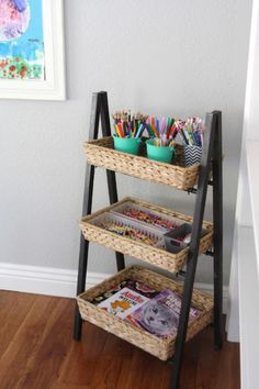 DIY Organizing Ideas for Kids Rooms - Simple And Organized Children's Art Supplies - Easy Storage Projects for Boy and Girl Room - Step by Step Tutorials to Get Toys, Books, Baby Gear, Games and Clothes Organized - Quick and Cheap Shelving, Tables, Toy Boxes, Closet Tips, Bookcases and Dressers - DIY Projects and Crafts http://diyjoy.com/diy-organizing-ideas-kids-rooms
