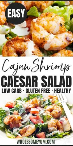 Keto Cajun Shrimp Caesar Salad Recipe - This Cajun shrimp salad recipe makes a great lunch or light dinner. Naturally keto friendly, spicy shrimp Caesar salad is ready in 15 minutes and full of flavor. #wholesomeyum #shrimp #caesarsalad #salad #saladrecipes #15minutemeals