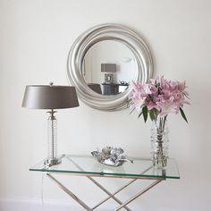 Silver Round Wavy Contemporary Mirror