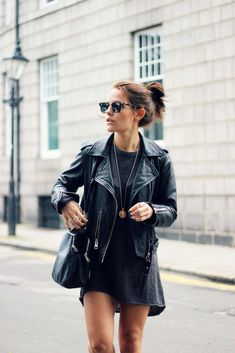 Amy Spencer wearing oversized jumper from H&M and a leather jacket from All Saints