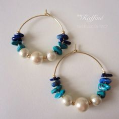 pearl × blue mix hoop
