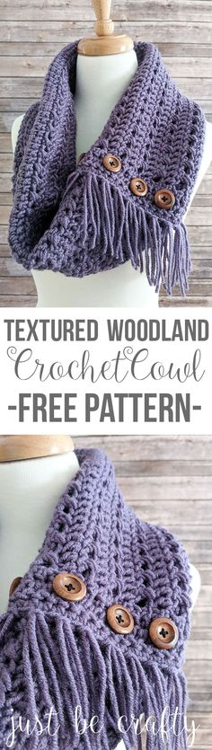 Textured Woodland Crochet Cowl Pattern - Free Pattern by Just Be Crafty Crochet Cowl Free Pattern, Knit Or Crochet, Crochet Scarves, Crochet Shawl, Crochet Clothes, Crochet Stitches, Crochet Hooks, Crochet Baby, Free Crochet