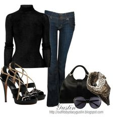 Black , heels and jeans