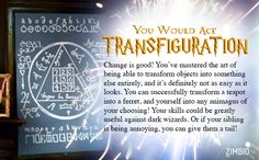 Transfiguration: The class I would ace! That was a fun quiz! (but mon dieu; some of those questions were a little painful)