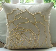 Decorative Throw Pillow Covers Natural Linen Gold Cord Embroidered Pillow Covers Pillow Cases Couch Bed Sofa Pillow - Linen Rose - Eliane Gonçalves de Melo - Welcome to the World of Decor! Linen Pillows, Sofa Pillows, Decorative Throw Pillows, Bed Sofa, Linen Fabric, Bed Linen, 20x20 Pillow Covers, Cushion Covers, Pillow Cases