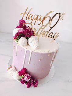 60th Birthday Cake For Mom, Birthday Cake For Women Elegant, Girly Birthday Cakes, Elegant Birthday Cakes, Beautiful Birthday Cakes, Women Birthday, Designer Birthday Cakes, Birthday Ideas For Dad, Happy Birthday Cakes For Women