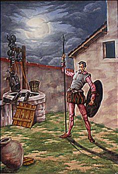 El valeroso caballero de la Triste Figura vela armas en el patio, previniendo peligroso