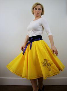 Yellow full circle skirt for women, embroidered skirt, summer skirt, 1950s retro skirt, skater skirt, midi skirt, boho skirt, elastic waist by ElzahDesign on Etsy