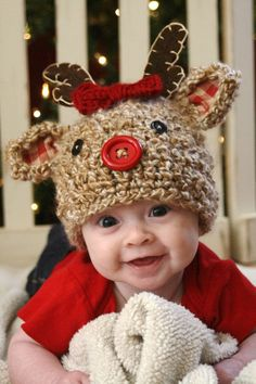 crochet reindeer hat pattern - Google Search