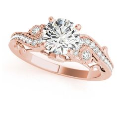Allurez Vintage Swirl Diamond Engagement Ring 14k Rose Gold (2.20ct) ($10,805) ❤ liked on Polyvore