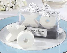 """XO"" Hugs & Kisses S&P Salt and Pepper Shakers Wedding/Engagement Bonbonniere"