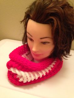 Red with white stripe Infinity Scarf $20.00, Available to order in any color, email homemadehatsandmore@gmail.com or go to my Facebook page Homemade Hats and More By Kalli