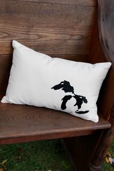 Great Lakes Pillow- Black Lake Design - Farmhouse style collection- Home Decor- Michigan by reprizedesigns on Etsy