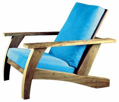 """""""Parati"""" armchair is a sustainable option with a visually light, rustic look. Motta designed this line of furniture using demolition wood, plentiful in urban centers like São Paulo. Available with upholstered cushions. Suitable for both indoors and outdoors."""
