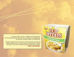Campaign Design - Brief for Cup Noodles, in depth including customer profile and SWOT analysis