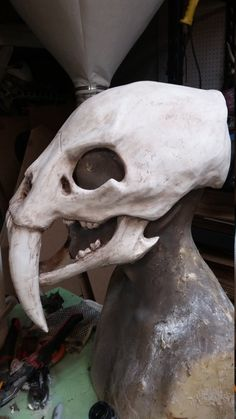 Saber Tooth Tiger Skull Mask With Movable Jaw by HighNoonCreations