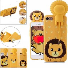 New Cute 3D Bear Teddy Lion Soft TPU Case For iPhone 6 6S Plus  7 Plus Meow Tail Holder Cases  Cover