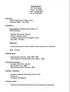 resume examples for students in high school - Resume With No Work Experience Example