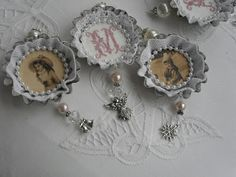 Make ornaments from vintage tart tins, photos, needlework, and snippets of old lace! If the lace is stained, Mama's Miracle Linen Soak will help it look its best. www.mamasmiracle.com