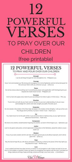 "Whether you're a ""seasoned"" parent or a brand-new one, what you pray will have a powerful impact on your kids - both now and for the rest of their lives. Here are 12 inspiring and encouraging verses to pray over your children!  via @Club31Women"