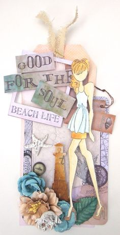 Blog hop - Beach Life - Scrapbook.com - Beautiful stamping, coloring, spraying and more on this gorgeous Prima tag made with Julie Nutting's doll stamp.