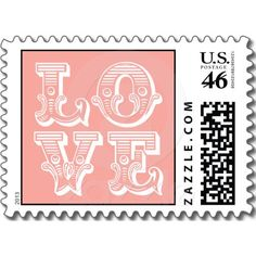 LOVE SQUARE VINTAGE TYPOGRAPHY | PINK POSTAGE STAMP.  $21.12 for a sheet of 20