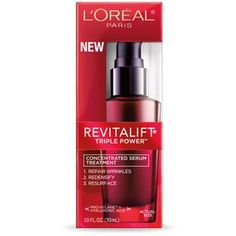 RevitaLift Triple Power Concentrated Serum Repairs Wrinkles & Replenishes Skin by L'Oréal Paris. Face serum that leaves skin soft, smooth & younger-looking. Anti Aging Moisturizer, Anti Aging Serum, Anti Aging Skin Care, Anti Aging Treatments, Skin Treatments, L'oréal Paris, Fragrance Parfum, Beauty Products, Beauty Dupes