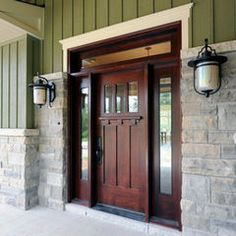 Like this front door...want something similar, with the 3 windows and window above door. But not so red in the stain.