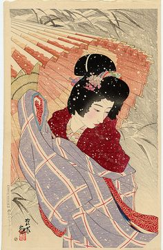 Ito Shinsui  Snowstorm  Original Japanese Woodblock Print  Series TitleSecond Series of Modern Beauties  EditionFirst. - Numbered in Kanji on  Date1932  PublisherWatanabe